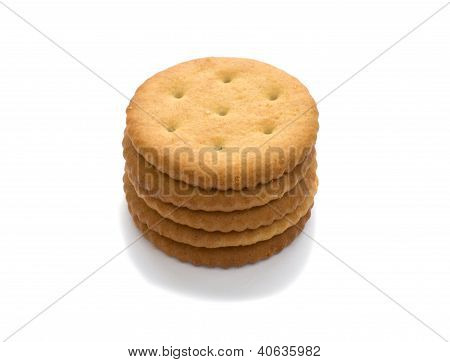 Five Crackers, Isolated On White