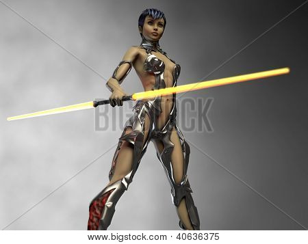 future warrior with lightsaber
