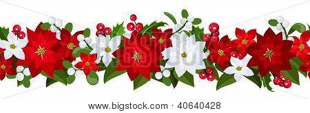 Fondo inconsútil de Navidad con flor de Pascua, el acebo y el muérdago.