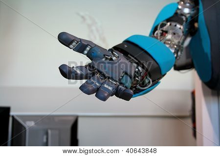 Open Blue Robot Hand Closeup