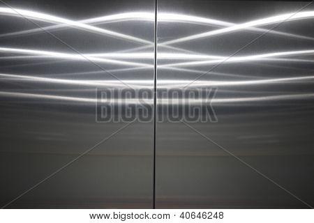 closed stainless steel elevator door