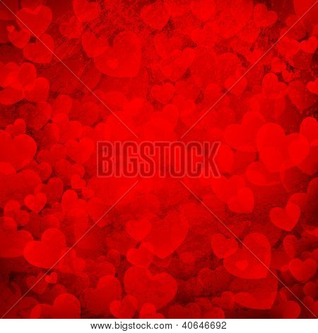 illustration of rusty love background with bunch of hearts