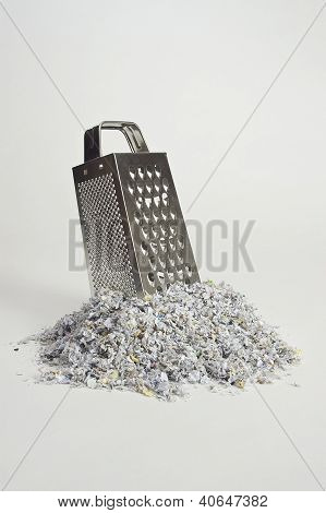Cheese Grater with Paper Shreds