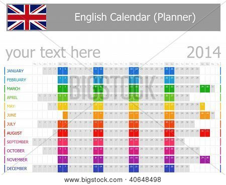 2014 English Planner Calendar With Horizontal Months