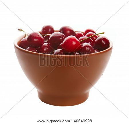 Sweet cherries in ceramic ware