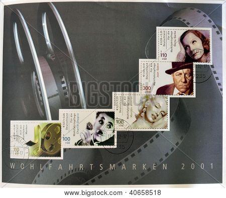 Greta Garbo Marilyn Monroe Charles Chaplin and roll of film