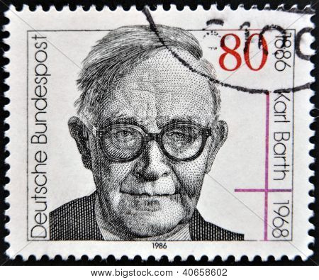 A stamp printed in West Germany shows image of Karl Barth
