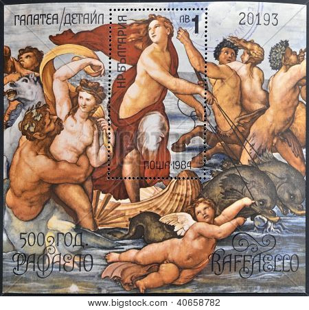 a stamp shows The Triumph of Galatea Fresco by the Italian Painter Raphael Villa Farnesina in Rome