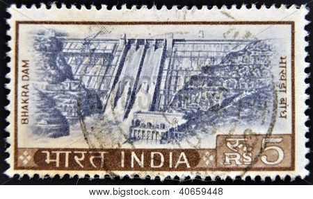 INDIA - CIRCA 1970: A stamp printed in India shows hydroelectric dam circa 1970