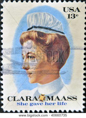Vereinigte Staaten von Amerika ca. 1976: Briefmarke gedruckt in Usa zeigt Clara Masse gab sie ihr Leben