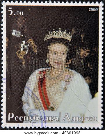 ABKHAZIA - CIRCA 2000 : Stamp printed in Abkhazia shows portrait Queen Elizabeth II of England circa