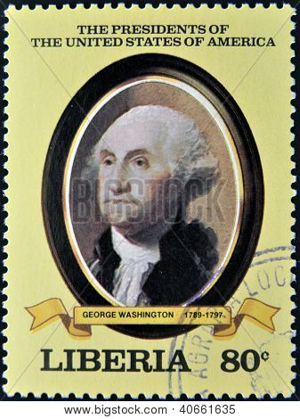 A stamp printed in Liberia shows President George Washington circa 1982