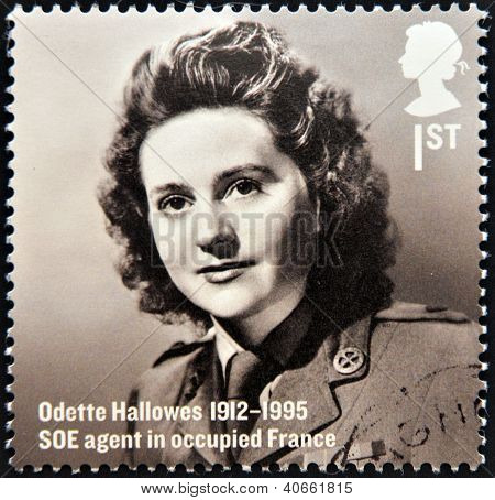 A stamp printed in Great Britain shows Odette Hallows SOE agent in occupied France circa 2012