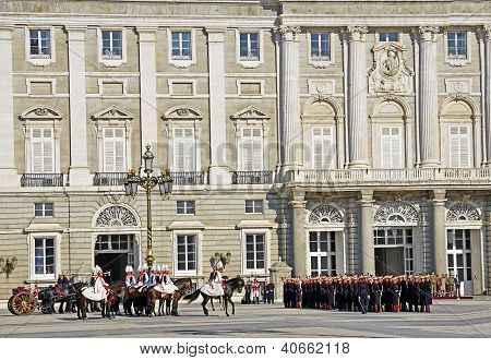 Military ceremony of changing of the guard at the Royal Palace chaired by the princes of Asturias