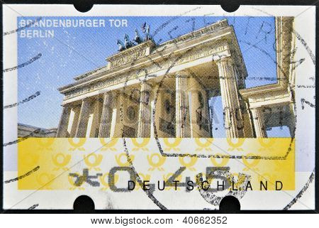 GERMANY - CIRCA 2009: A stamp printed in Germany showing Brandenburg Gate Berlin circa 2009.
