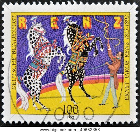 A stamp is dedicated to Ernst Jakob Renz Circus Director shows the training of horses