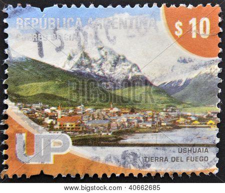 ARGENTINA - CIRCA 2000: A stamp printed in Argentina shows Ushuaia Tierra del Fuego circa 2000