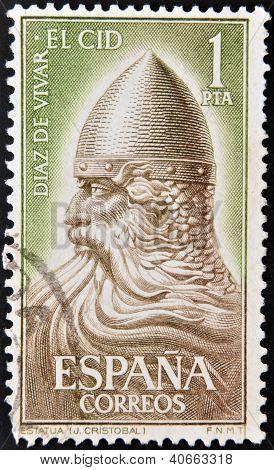 a stamp printed in Spain shows El Cid Campeador (Rodrigo Diaz de Vivar) Spain's National Hero