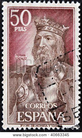 SPAIN - CIRCA 1972: A stamp printed in Spain shows Fernan Gonzalez of Castile circa 1972