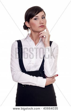 Young confident businesswoman isolated on white