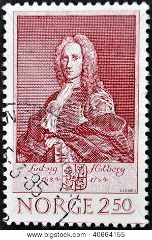 NORWAY - CIRCA 1984: A stamp printed in Norway shows Ludvig Holdberg circa 1984
