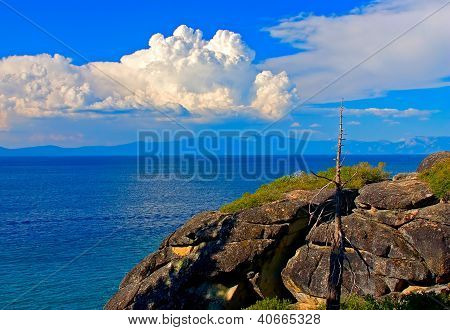 Granite Cliff Along The Shore Of Lake Tahoe, California