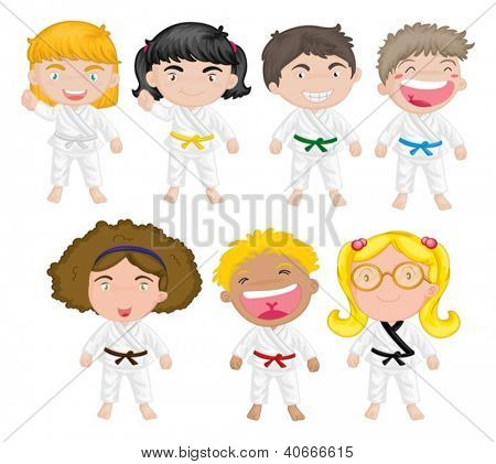 Illustration of karate kids on a white background