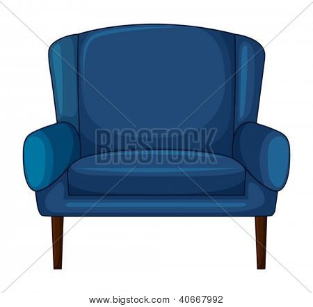 Illustration of a blue cushion chair on a white background