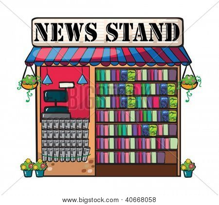 Detailed illustration of newspaper shop on wite