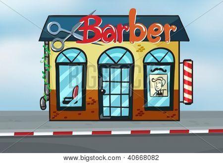 Illustration of barber shop on road