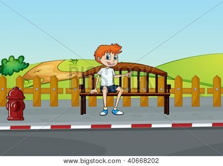 Illustration of a boy sitting on the bench in a beautiful nature