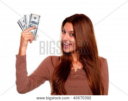 Charming Young Female With Cash Money