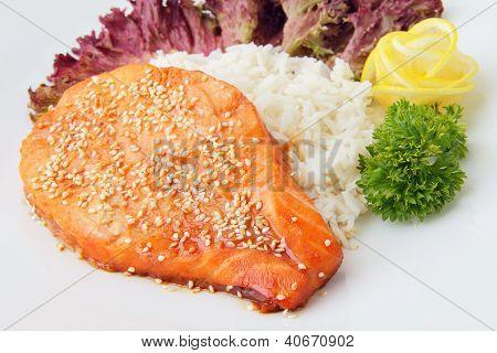 Slice Of Salmon With Garnish