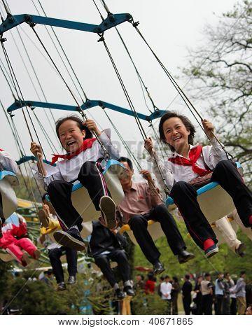 North Korean children at Taedong-san Funfair