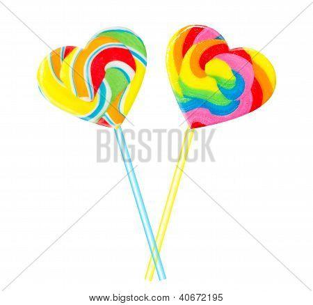 Sweet Couple - Colourful Lollipop Hearts
