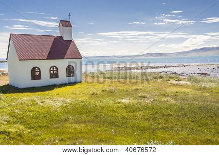 Wooden Church On Coast Of Isafjardardjup Fjord - Iceland.