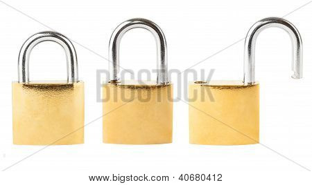 Three security padlocks