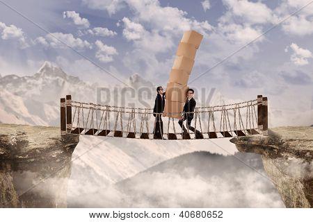 Business Teamwork On Bridge Outdoor