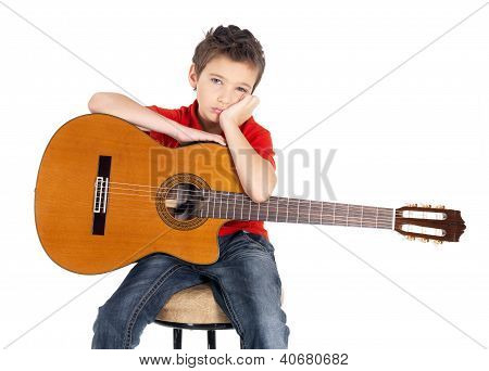 Sad white boy with acoustic guitar