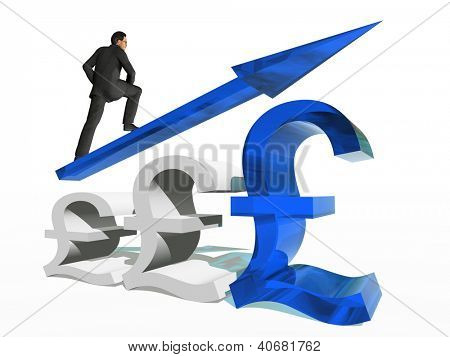 Conceptual 3D human,man or businessman standing over an pound symbol with an arrow isolated on white background