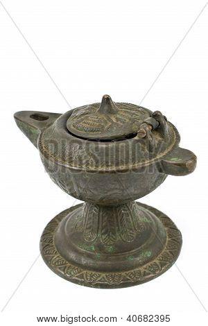 Antique Bronze Oil Lamp