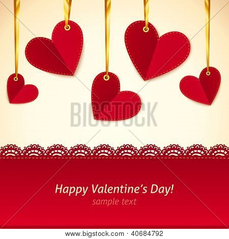 Vector Valentine's day greeting card with hearts