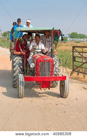 Country People Travel By Tractor, India
