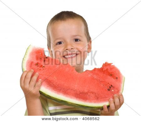 Ecstatic Boy With Watermelon Slice
