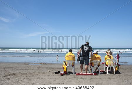 Lifeguards at the beach.