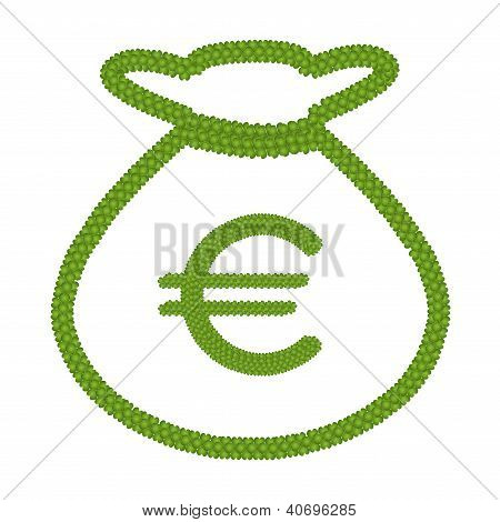 Four Leaf Clover Of Euro Sign In Money Bag Icon