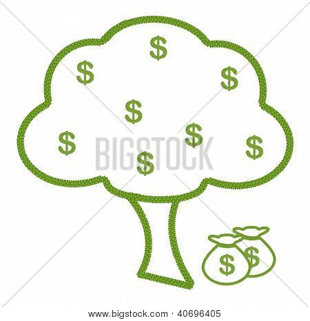 A Tree Made Of Four Leaf Clover With Dollar Sign