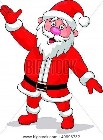 Happy Santa cartoon waving hand