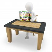 3D Man Working With An Abacus