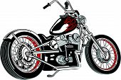 stock photo of chopper  - Motorcycle Clipart of a Custom or Vintage Chopper - JPG